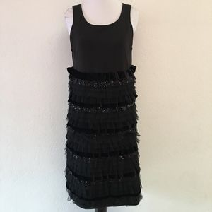 Monnalisa Chic Black Ruffled Cocktail Dress Size L